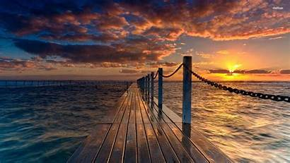 Sunset Landscape Wallpapers Nature Dock Beach Pier