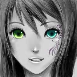 Anime Girl with Different Color Eyes