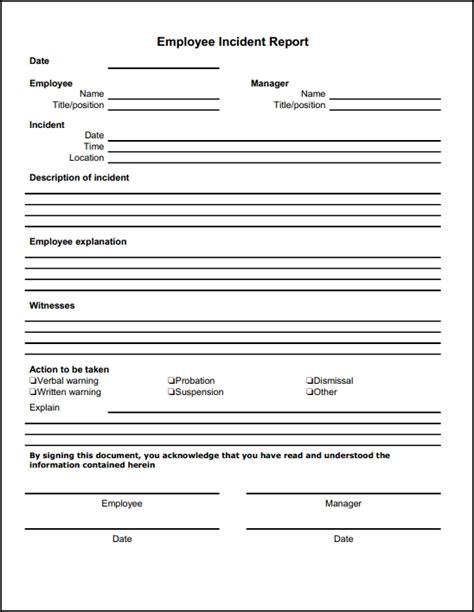 incident report form template 13 incident report templates excel pdf formats