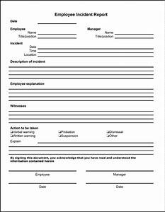 blank employee incident report form template sample With hr incident report template