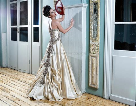 Champagne Gold Fusion Bridal Gown In Raw Silk With Maroon
