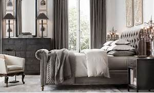 Restoration Hardware Bedroom Paint Ideas Pict Belgian Textured Linen Grommeted Drapery 108 X50 Fog