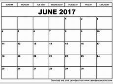 June 2017 Calendar weekly calendar template