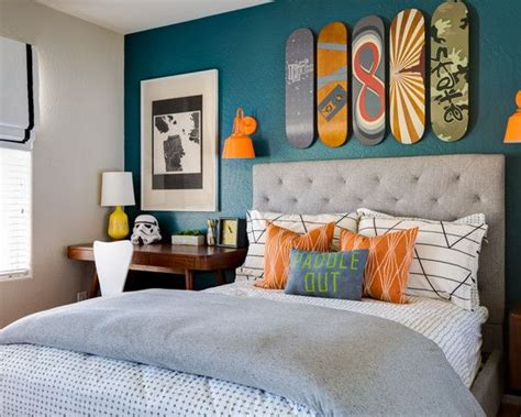 snowboard room  kids blue feature wall orange accents