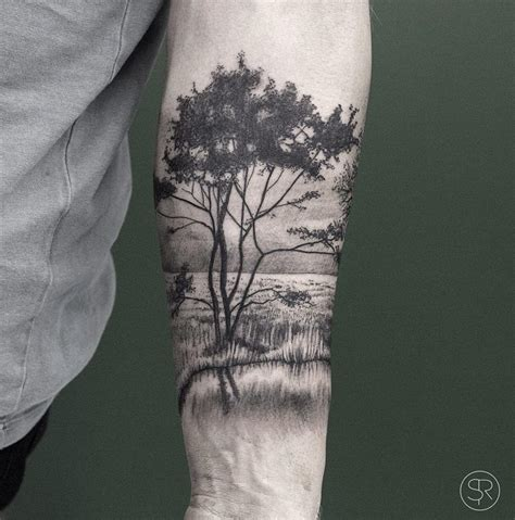 tattoos designs trees water park nature on guys forearm best ideas designs