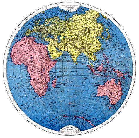vintage printable map   world part