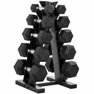 Cap Barbell 150-lb Rubber Hex Dumbbell Weight Set  5-25 Lbs With Rack  Dumbbells