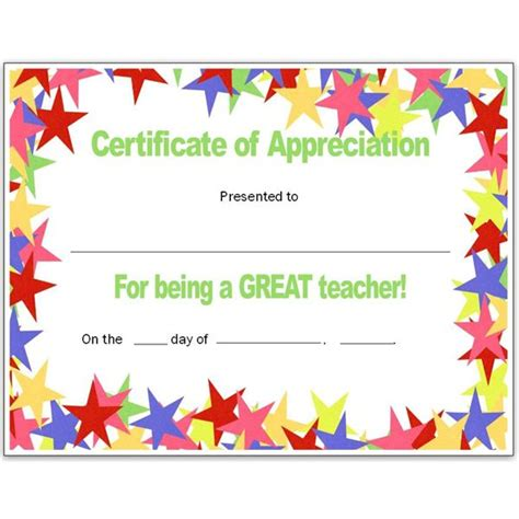 Free Templates For Teachers by Free Appreciation Certificates Word And