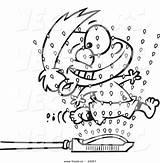 Cartoon Coloring Running Boy Sprinklers Through Sprinkler Vector Outlined Drawing Toonaday Getdrawings sketch template