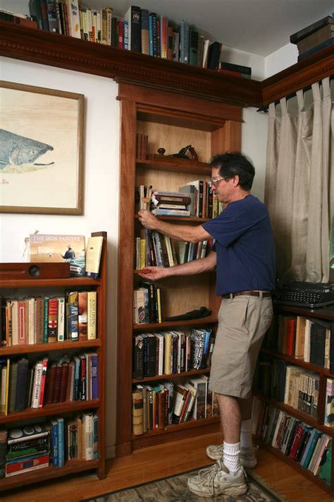 How To Build A Secret Bookcase Door - pivot bookcase installation thisiscarpentry