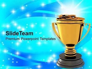 Golden Trophy With Dollar Coins Reward Winner Powerpoint ...