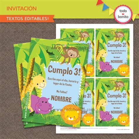 selva tarjeta invitaci 243 n imprimible y digital todo bonito