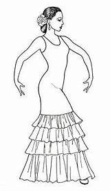 Flamenco Drawing Dancer Dance Costume Dress Spanish Coloring Drawings Dancers Sketches Raquel Lopez Dresses Ballet Designs Dancing Spain Pages Ballerina sketch template