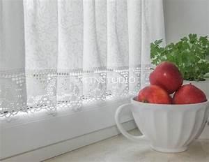 Gardinen Set Küche : gardinen gardinen set 3 tlg k che creme weiss mit rosen ein designerst ck von ktnstudio bei ~ Orissabook.com Haus und Dekorationen