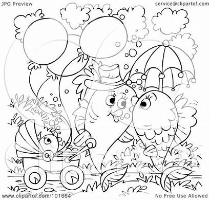 Outline Couple Kissing Coloring Fish Walking Clipart