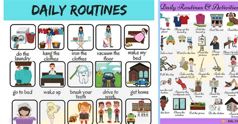 daily routines  words  describe  daily
