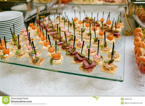 table canape catering of canape on table royalty free stock image