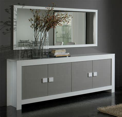 canap h et h bahut 4 portes pisa laquée bicolore blanc gris blanc gris