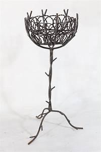 Wrought, Iron, Bird, Nest, Planter, Decorative, Plant, Stand