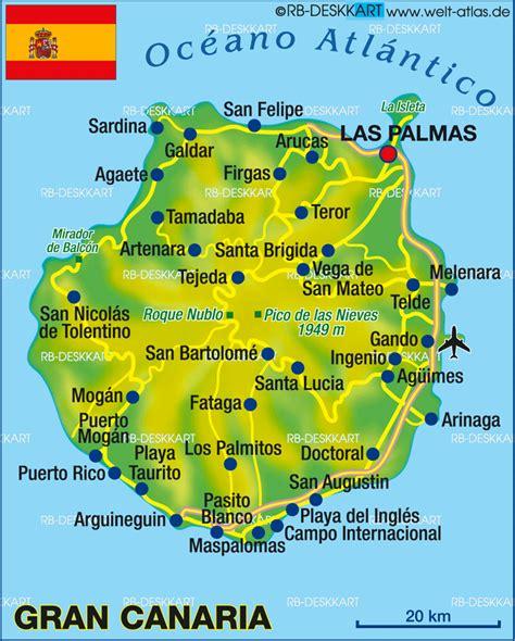 karte von gran canaria insel  spanien welt atlasde