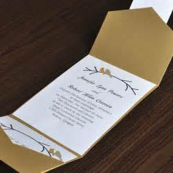 gold wedding invitations birds card and gold pocket wedding invites with free response card ewpi016 as low