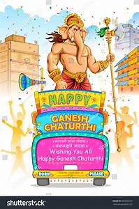 Illustration Ganesh Chaturthi Procession Text Ganpati ...