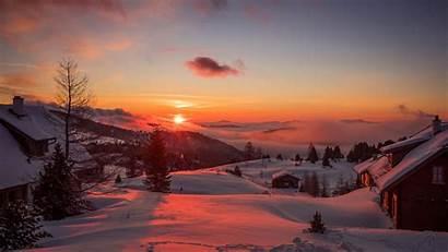 Winter Sunset Mountains Austria 4k Background Trees
