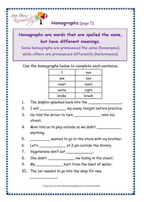 homographs worksheets homeschooldressage