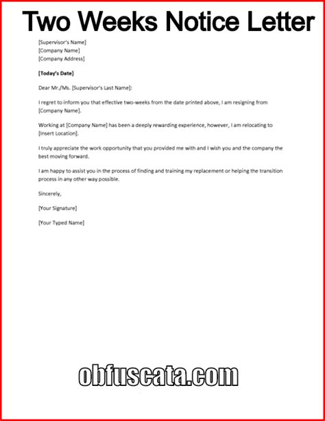 how to write a 2 week notice letter for work how to write a two weeks notice letter 30587