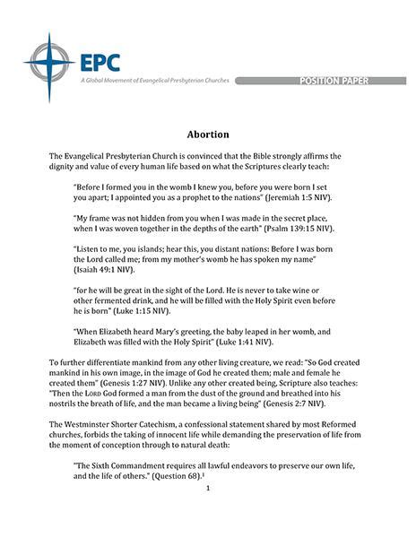 Topic background, past international action, country policy, and possible solutions. Position Paper on Abortion (PDF Download) - EPC Resources