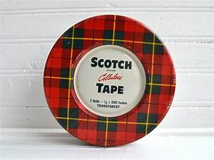 Vintage Red Plaid Tin | Scotch Cellulose Tape Tin | Scotch ...