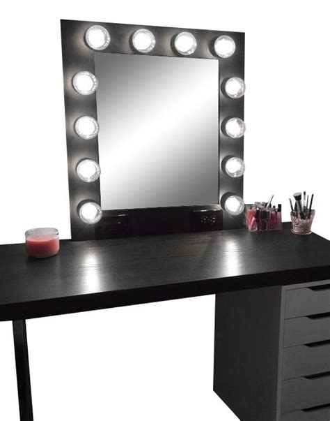 black makeup vanity table with lighted mirror hollywood vanity makeup mirror with lights built in