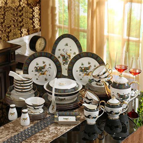 sets dinner dinnerware china porcelain bone horses gold wedding god outline 58pcs coffee gift dining aliexpress