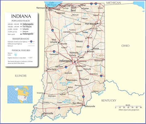 indiana mapindiana state mapindiana road map map  indiana