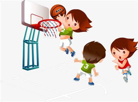 playing cartoon kids playing basketball cartoon illustration children