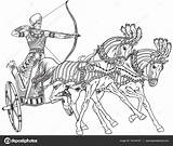 Chariot Egyptian Ancient Outline Pages Vector Roman Horse Egypt Horses Illustration Clip Sketch Colouring Warrior Illustrations Pharaoh Clipart Carriage Wheeled sketch template