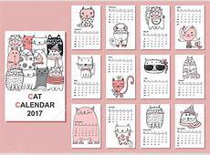 Calendário 2017 com gatos bonitos — Vetor de Stock #129765934