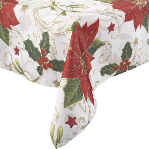 christmas tablecloth manita vintage christmas table linen festive holly poinsettia xmas tablecloth ebay