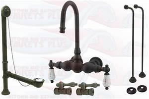 Kingston Brass Oil Rubbed Bronze Clawfoot Tub Faucet Kit