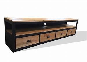 Meuble Bois Et Noir : meuble tv xxl l 39 atelier broc loft ~ Dailycaller-alerts.com Idées de Décoration