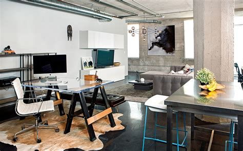 A Small Industrial Apartment With A Home Office Blue Decor by 27 Ingenious Industrial Home Offices With Modern Flair