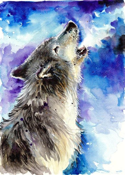 awesome wolf painting watercolor images wolf painting