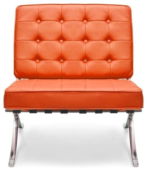 orange leather barcelona chair midcentury armchairs