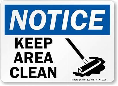 Clean Keep Area Notice Signs Housekeeping Sweep