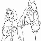 Belle Coloring Disney Princess Pages Colouring Princesses Horse Colour Beast Bella Horses Beauty sketch template