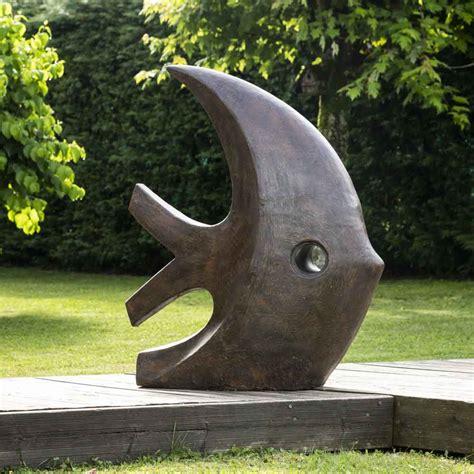 grande sculpture moderne poisson  cm brun