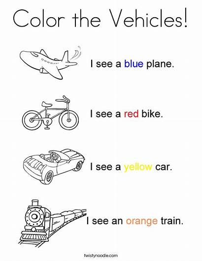Coloring Vehicles Transportation Worksheets Pages Colors Noodle