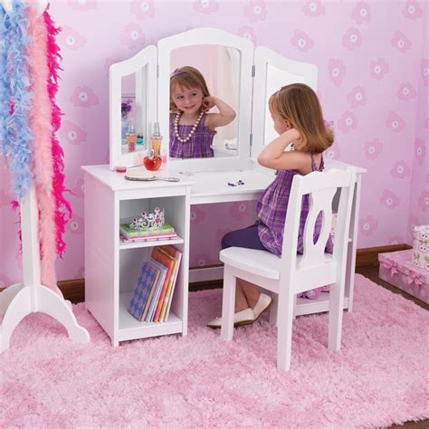 toddler vanity table kidkraft deluxe dressing table chair in white costco