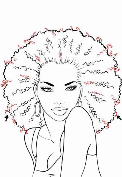 Afro Hair Draw Drawing African American Sketches