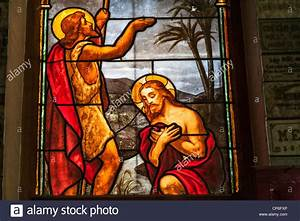 Baptism of Jesus by John the Baptist stained glass window ...